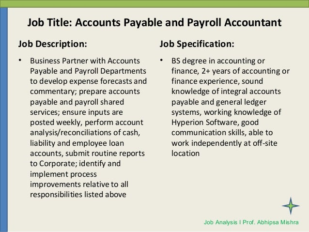 Job Analysis and Job Description – Accountant Job Description