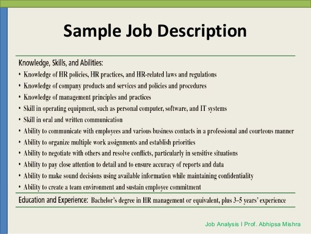 Sample Job Description Job Analysis I Prof. Abhipsa Mishra