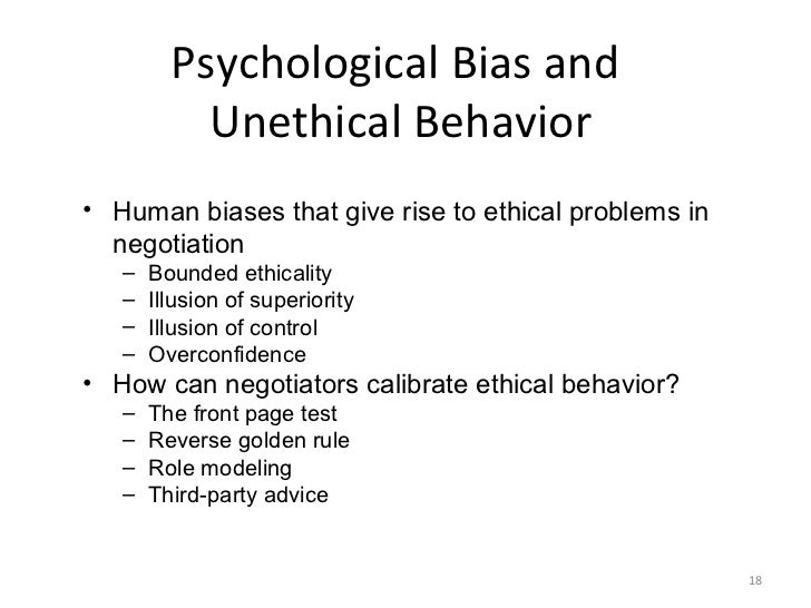ethical versus unethical behaviour in negotiation Restraint in the care of older patients: ethical and legal aspects  control behaviour,  negotiation with family / carers.