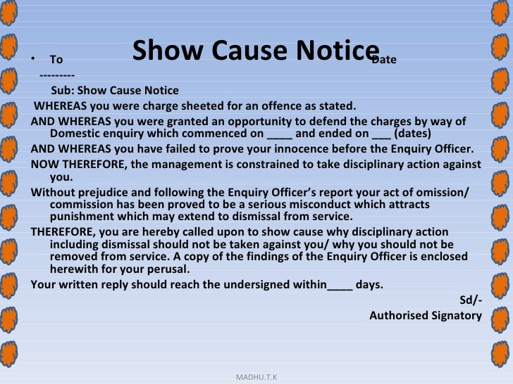 show cause notice to employee for negligence of duty