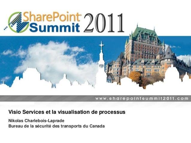 Visio Services et la visualisation de processus Nikolas Charlebois-Laprade Bureau de la sécurité des transports du Canada