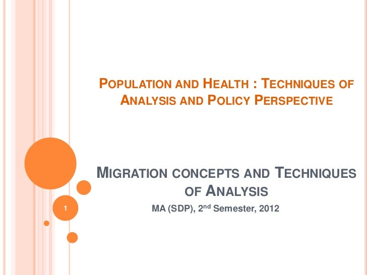 POPULATION AND HEALTH : TECHNIQUES OF      ANALYSIS AND POLICY PERSPECTIVE    MIGRATION CONCEPTS AND TECHNIQUES           ...