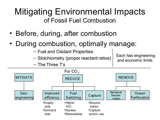 Mitigating Environmental Impacts of Fossil Fuel Combustion  • Before, during, after combustion • During combustion, optima...
