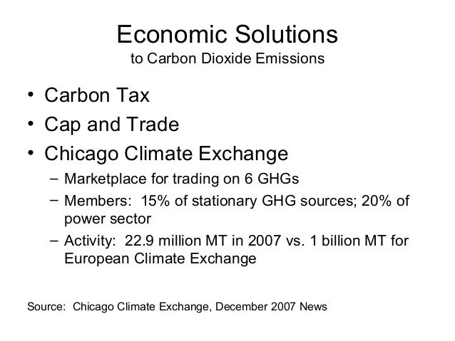 Economic Solutions to Carbon Dioxide Emissions  • Carbon Tax • Cap and Trade • Chicago Climate Exchange – Marketplace for ...