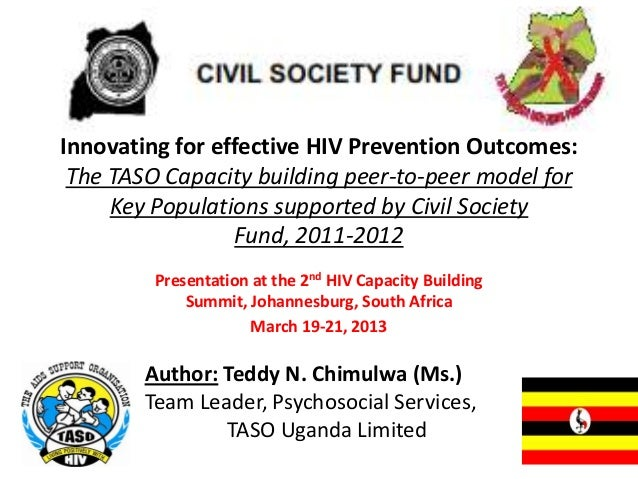 Innovating for effective HIV Prevention Outcomes: The TASO Capacity building peer-to-peer model for     Key Populations su...