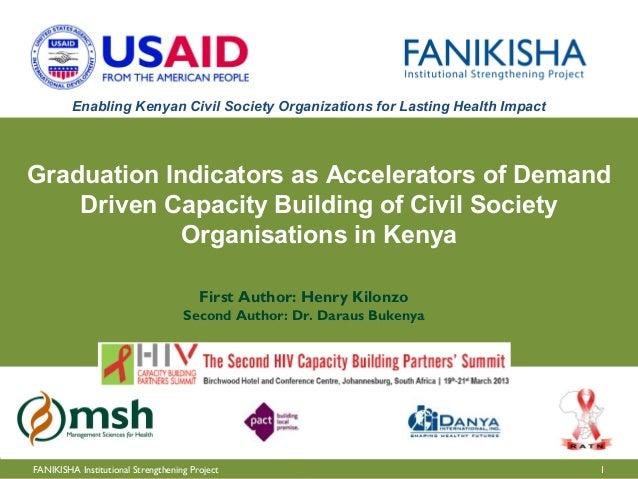Enabling Kenyan Civil Society Organizations for Lasting Health ImpactGraduation Indicators as Accelerators of Demand    Dr...