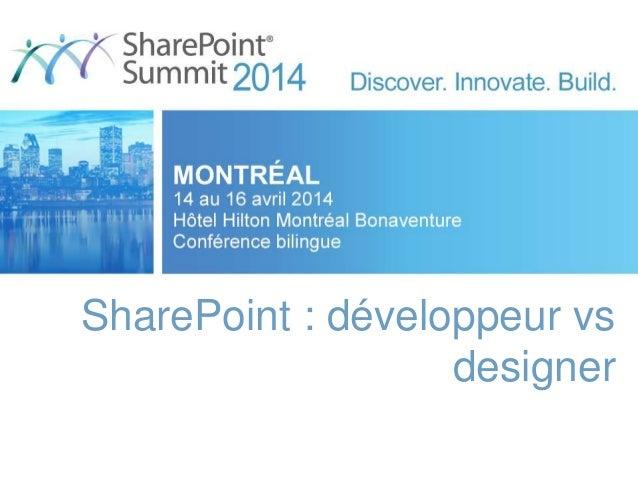 SharePoint : développeur vs designer