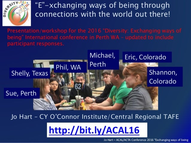 """Jo Hart – ACAL/ACTA Conference 2016 """"Exchanging ways of being Jo Hart – CY O'Connor Institute/Central Regional TAFE """"E""""-xc..."""