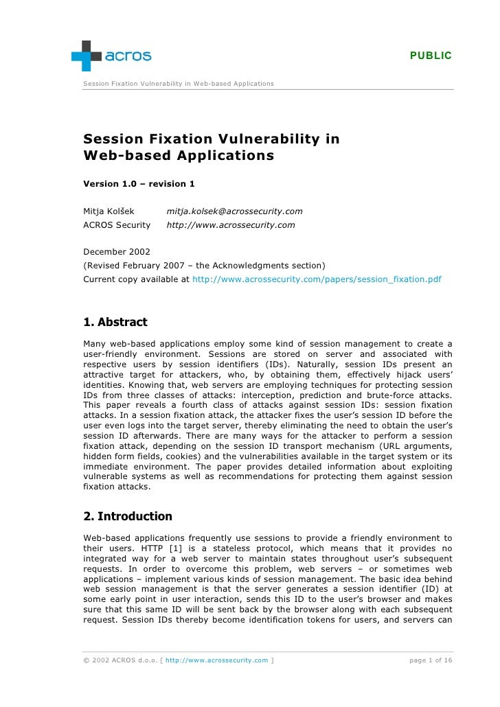 PUBLIC  Session Fixation Vulnerability in Web-based Applications     Session Fixation Vulnerability in Web-based Applicati...