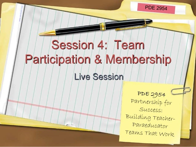 Session 4: Team Participation & Membership Live Session