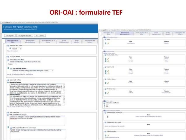 1 ORI-OAI : formulaire TEF