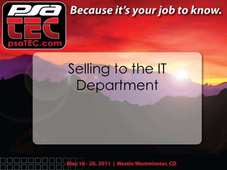 Selling to the IT Department