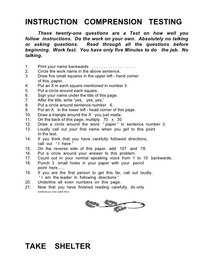 Sessions – Following Directions Worksheet Trick