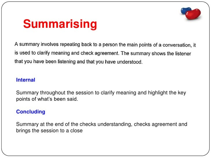 Paraphrasing and summarising in counselling