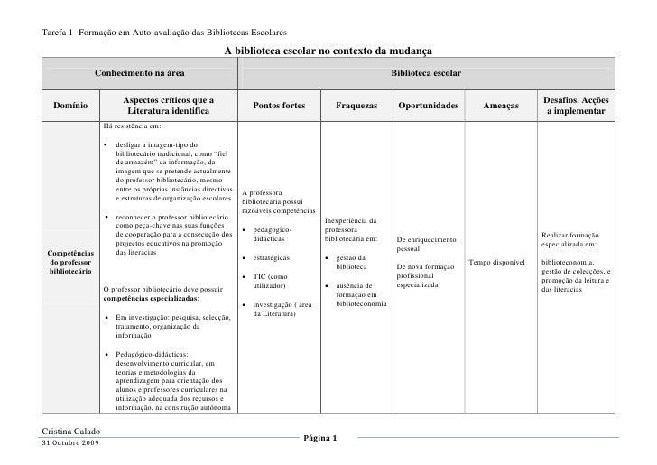 Tarefa 1- Formação em Auto-avaliação das Bibliotecas Escolares                                                            ...