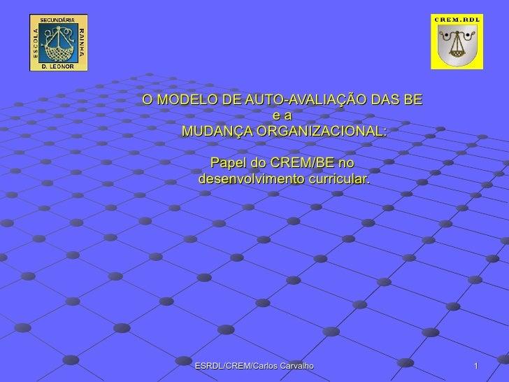 O MODELO DE AUTO-AVALIAÇÃO DAS BE  e a  MUDANÇA ORGANIZACIONAL: Papel do CREM/BE no  desenvolvimento curricular.