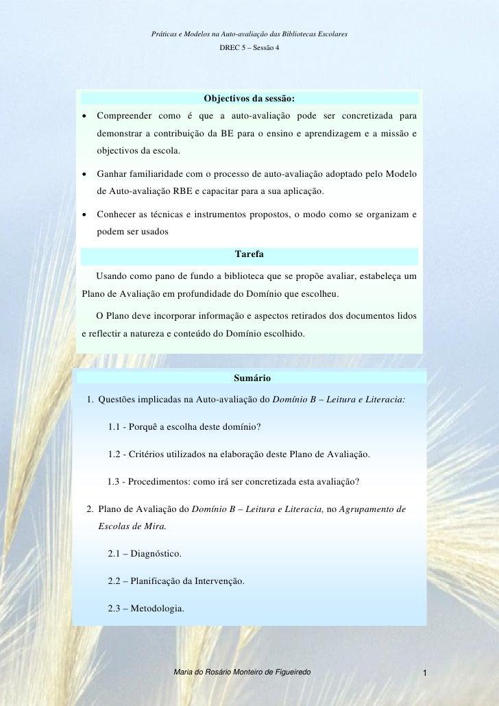Práticas e Modelos na Auto-avaliação das Bibliotecas Escolares                                       DREC 5 – Sessão 4    ...