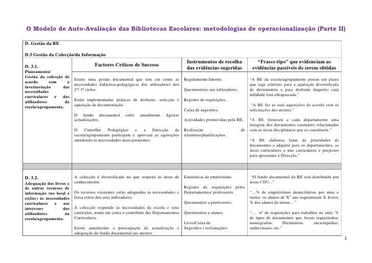 O Modelo de Auto-Avaliação das Bibliotecas Escolares: metodologias de operacionalização (Parte II)<br />D. Gestão da BE D....