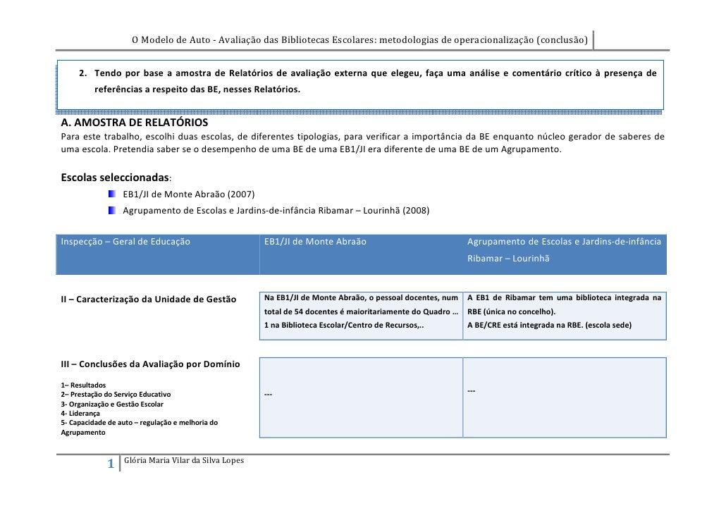 O Modelo de Auto - Avaliação das Bibliotecas Escolares: metodologias de operacionalização (conclusão)        2. Tendo por ...
