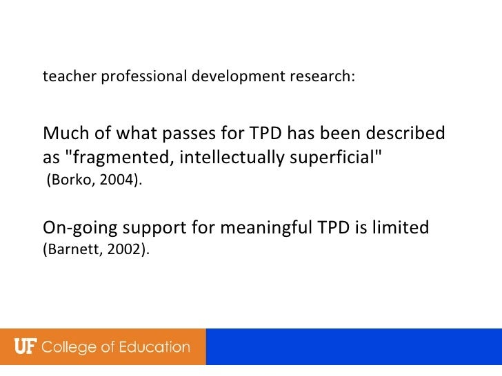 """teacher professional development research: Much of what passes for TPD has been described as """"fragmented, intellectua..."""