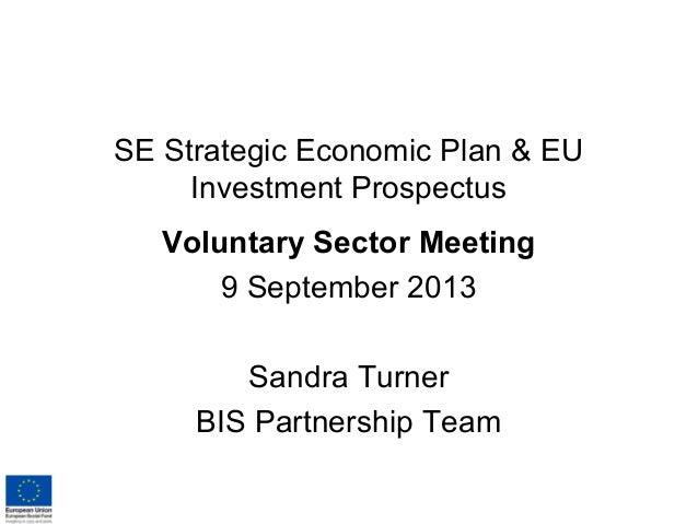 SE Strategic Economic Plan & EU Investment Prospectus Voluntary Sector Meeting 9 September 2013 Sandra Turner BIS Partners...