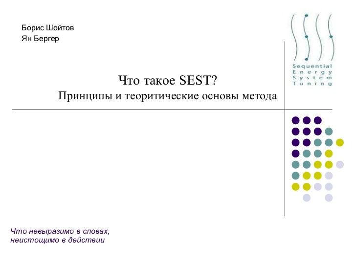 Что невыразимо в словах, неистощимо в действии Борис Шойтов Ян Бергер Что такое  SEST ? Принципы и теоритические основы ме...