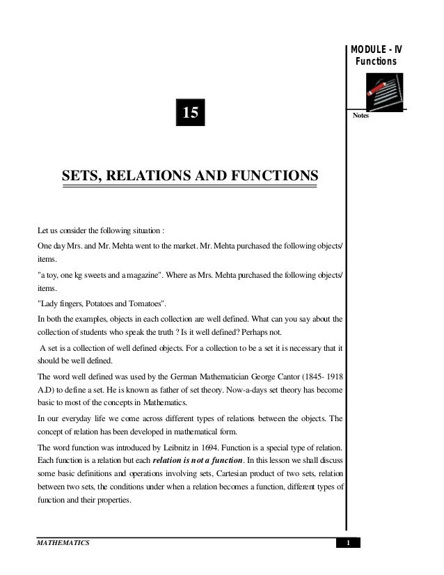 Set Relations And Functions