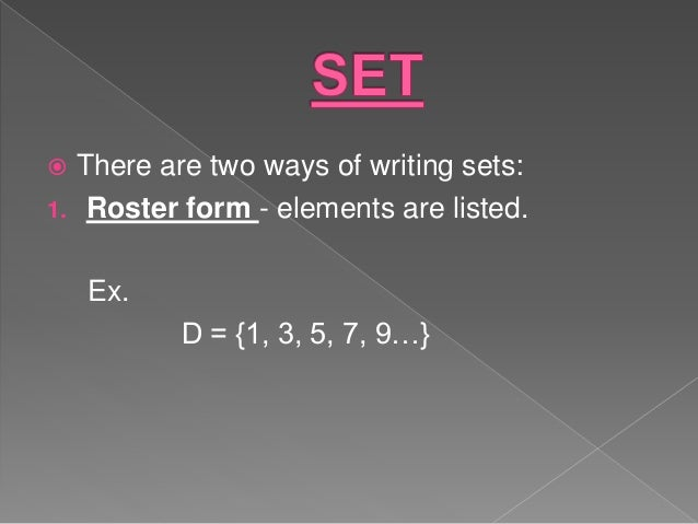 Ways of writing sets