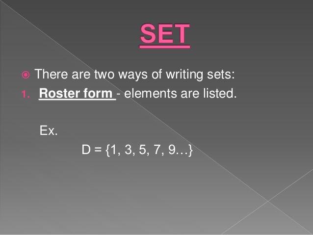 Ways of writing sets