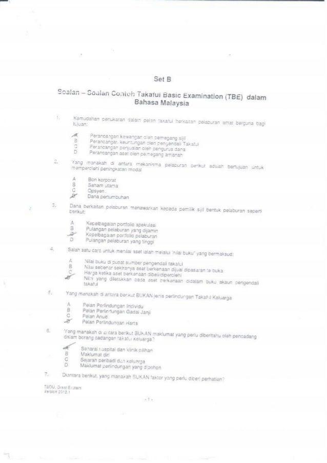 Set B  Scalan - Saaian Contch Takaiui Basic Examination (TBE) dalam Bahasa Malaysia  i.  Kemudahan oenukaran dalam pelan t...