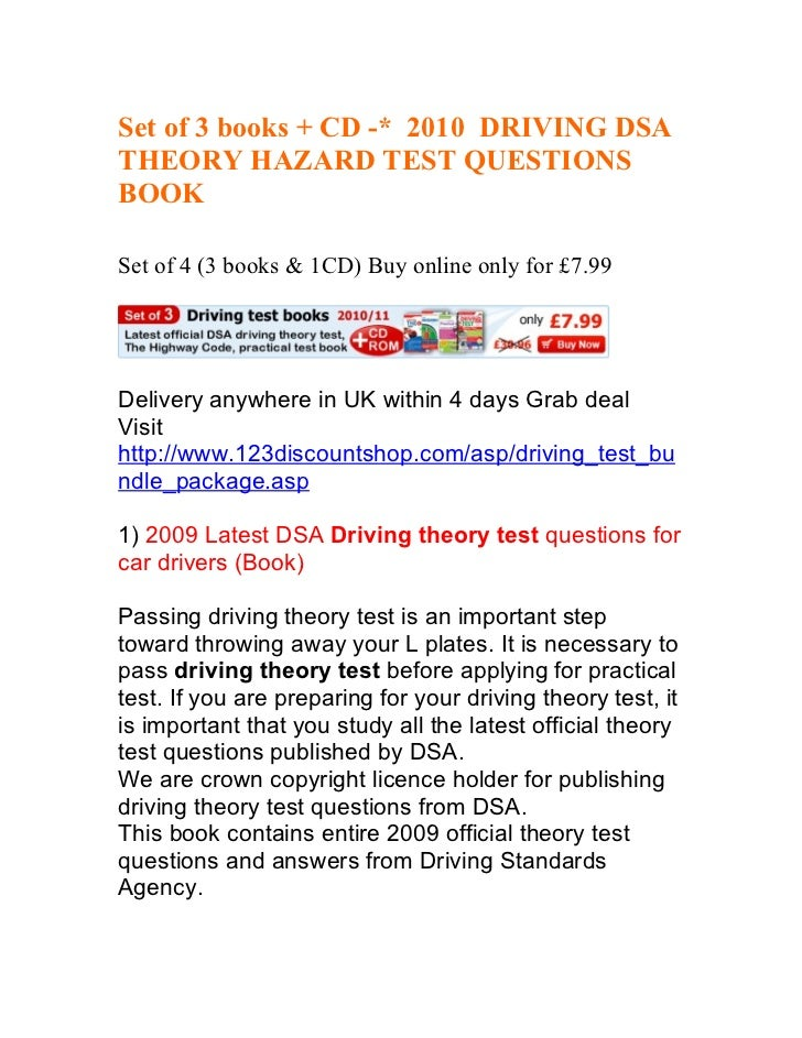 Set of 3 books + CD -* 2010 DRIVING DSATHEORY HAZARD TEST QUESTIONSBOOKSet of 4 (3 books & 1CD) Buy online only for £7.99D...
