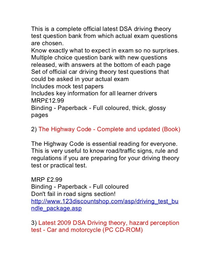 Latest DSA driving theory test and Hazard perception test book