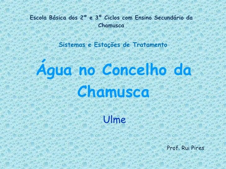 Água no Concelho da Chamusca Ulme Escola Básica dos 2º e 3º Ciclos com Ensino Secundário da Chamusca Sistemas e Estações d...