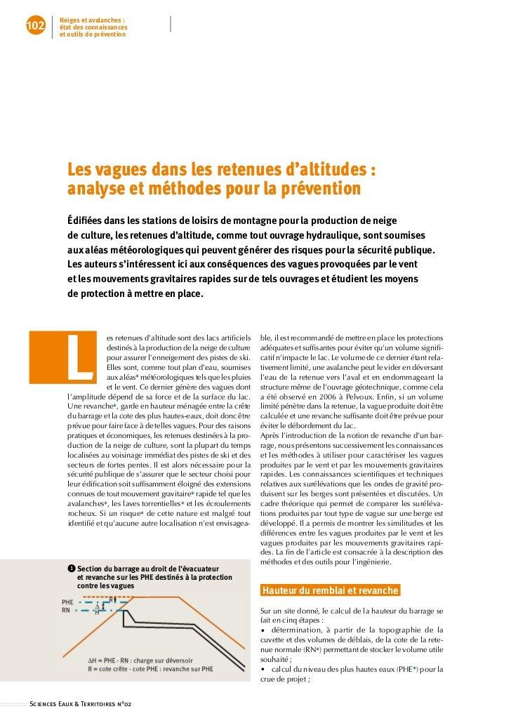 Neiges et avalanches :          102        état des connaissances                     et outils de prévention             ...