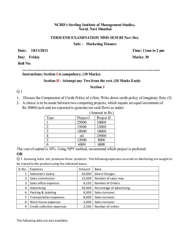 NCRD's Sterling Institute of Management Studies, Nerul, Navi Mumbai TERM END EXAMINATION MMS SEM III Nov/ Dec Sub: - Marke...