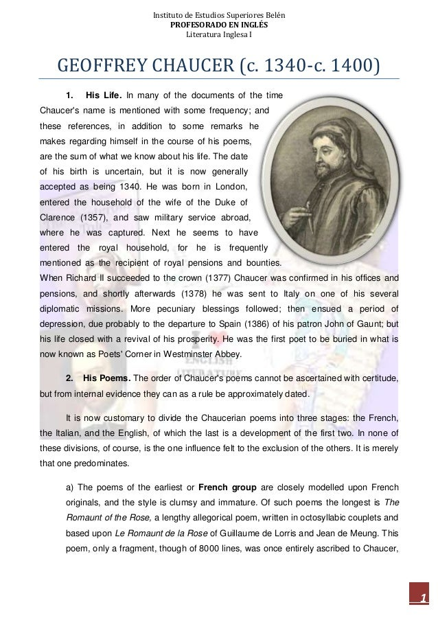 Instituto de Estudios Superiores Belén PROFESORADO EN INGLÉS Literatura Inglesa I 1 GEOFFREY CHAUCER (c. 1340-c. 1400) 1. ...