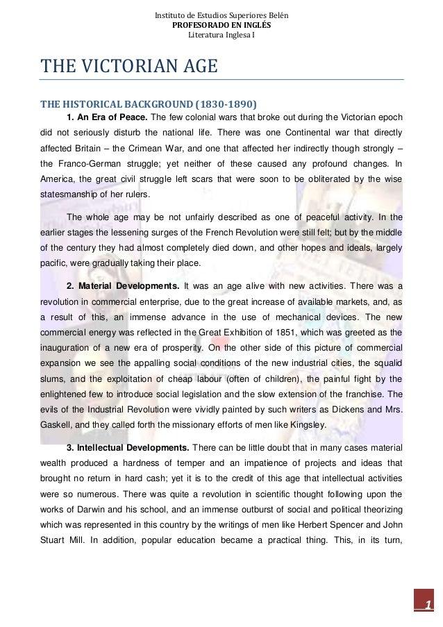 Instituto de Estudios Superiores Belén PROFESORADO EN INGLÉS Literatura Inglesa I 1 THE VICTORIAN AGE THE HISTORICAL BACKG...