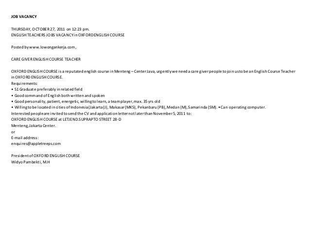 JOB VACANCY THURSDAY, OCTOBER 27, 2011 on 12:23 pm. ENGLISH TEACHERS JOBSVACANCYinOXFORDENGLISH COURSE Postedbywww.lowonga...