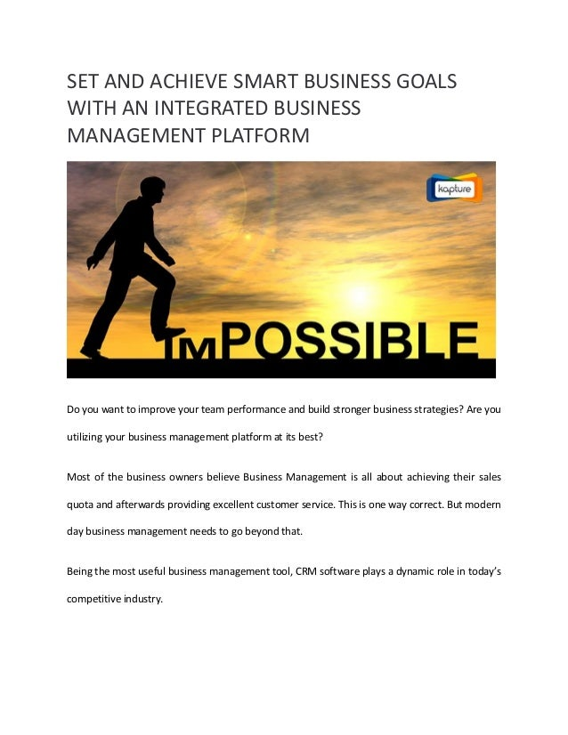 Set and Achieve Smart Business Goals with an Integrated ...