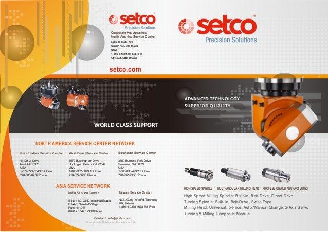 setco.com Taiwan Service Center No.5.,Gung Ye 8 Rd, Taichung 407, Taiwan 1-886-4-2358-1678 Toll Free High Speed Milling Sp...