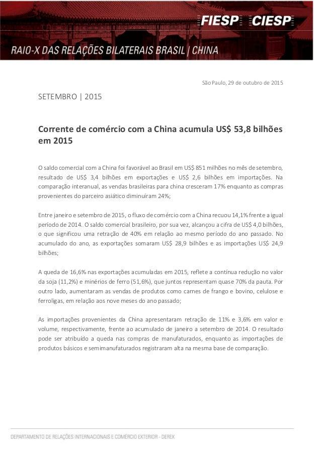São Paulo, 29 de outubro de 2015 SETEMBRO | 2015 Corrente de comércio com a China acumula US$ 53,8 bilhões em 2015 O saldo...