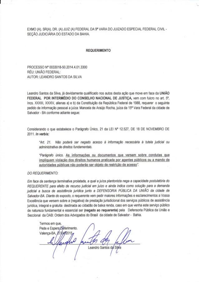 PODER JUDICIÁRIO SEÇÃO JUDICIÁRIA DO ESTADO DA BAHIA 9ª VARA-JEF CÍVEL 92ECCC2976E94387F516DDCF2471A7EC PROCESSO N.: 00330...