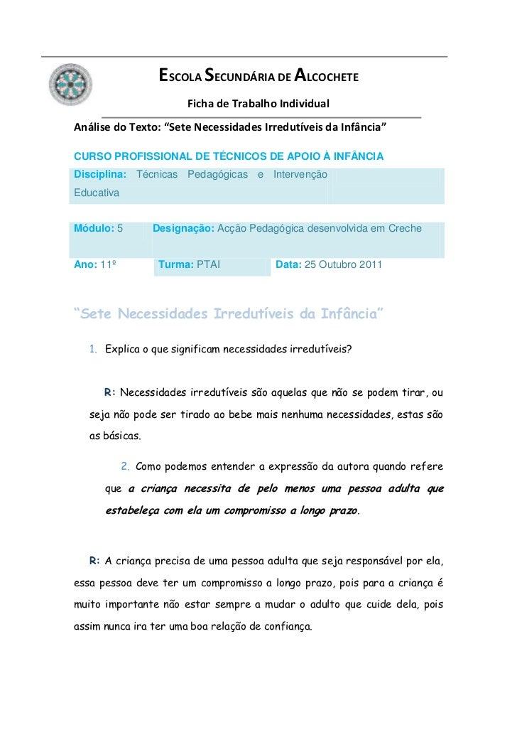 """ESCOLA SECUNDÁRIA DE ALCOCHETE                        Ficha de Trabalho IndividualAnálise do Texto: """"Sete Necessidades Irr..."""