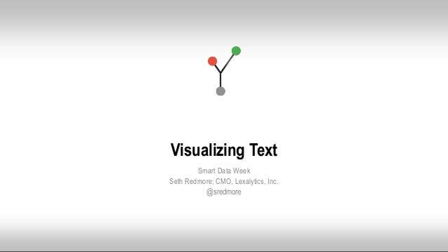 © 2015 Lexalytics Inc. All rights reserved Visualizing Text Smart Data Week Seth Redmore; CMO, Lexalytics, Inc. @sredmore