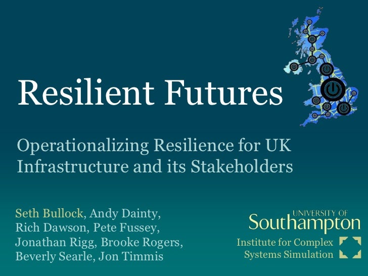 Resilient FuturesOperationalizing Resilience for UKInfrastructure and its StakeholdersSeth Bullock, Andy Dainty,Rich Dawso...