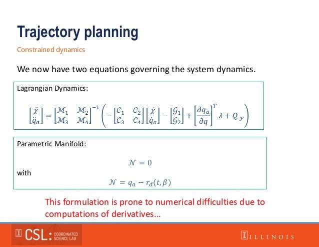 Trajectory planning Constrained dynamics Parametric Manifold: 𝒩 = 0 with 𝒩 = 𝑞 𝑎 − 𝑟𝑑(𝑡, 𝛽) We now have two equations gove...