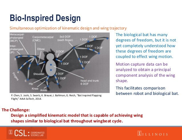 Bio-Inspired Design Simultaneous optimization of kinematic design and wing trajectory The Challenge: Design a simplified k...