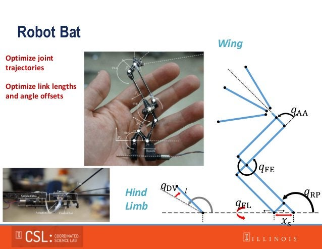 𝑞RP 𝑞FE 𝑞AA 𝑞DV 𝑥s 𝑞FL 𝑙 Optimize link lengths and angle offsets Robot Bat Hind Limb Wing Optimize joint trajectories