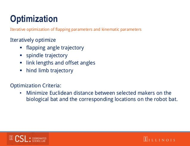 Optimization Iterative optimization of flapping parameters and kinematic parameters Iteratively optimize  flapping angle ...