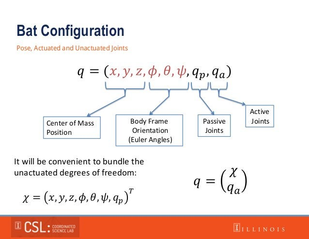 Bat Configuration Pose, Actuated and Unactuated Joints 𝑞 = (𝑥, 𝑦, 𝑧, 𝜙, 𝜃, 𝜓, 𝑞 𝑝, 𝑞 𝑎) Center of Mass Position Body Frame...